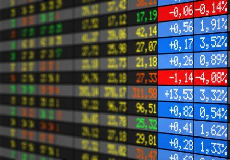 bolsa de valores: Tarjeta electr�nica del mercado de valores Foto de archivo