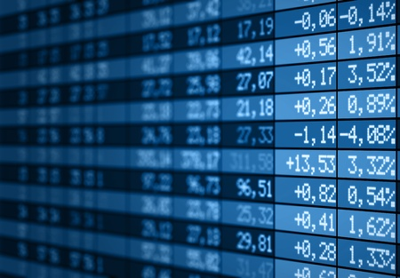 stock exchange: Stock market electronic board blue