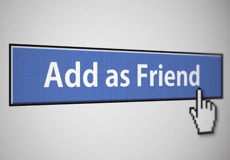 add as friend: Add as friend button Stock Photo