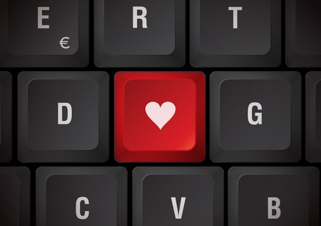 declare: Black keyboard heart touch Stock Photo