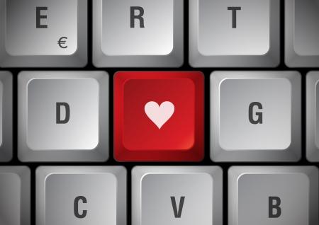 sexuality: Toque de coraz�n de teclado blanco