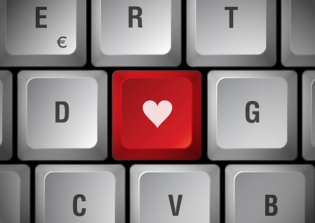 declare: White keyboard heart touch