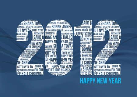 Happy New Year 2012 - Blue Stock Vector - 9765061