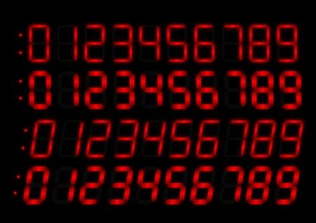 Radio-réveil chiffres rouges Vecteurs