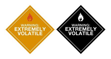 riesgo quimico: Advertencia extremadamente vol�til Vectores
