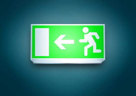 emergency light: Exit to the left