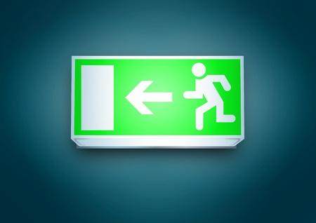 evacuatie: Uitgang naar het linker