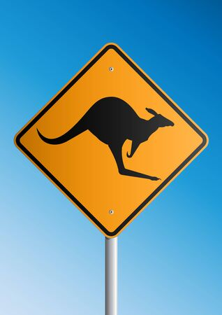 signaling: Kangaroo Roadsign Illustration