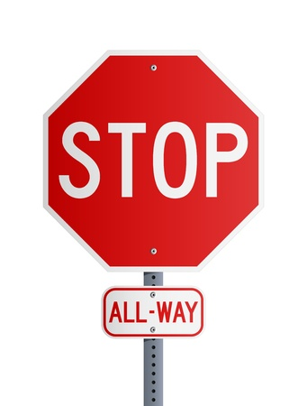 Stop All-Way Stock Vector - 11295301