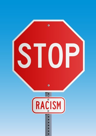 red sign: Stop Racism