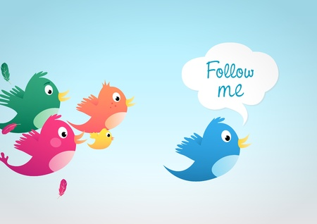 follow: Follow me Illustration