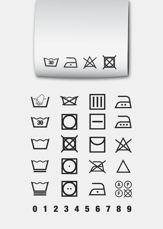 laundry machine: Washing symbols Illustration