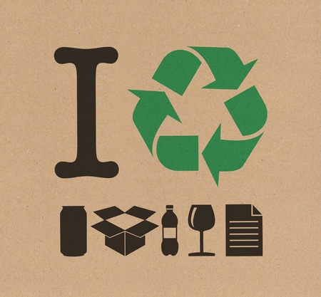 reciclaje papel: Me reciclaje de cart�n Foto de archivo