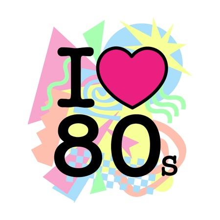 I love 80 s old style Stock Vector - 13126706