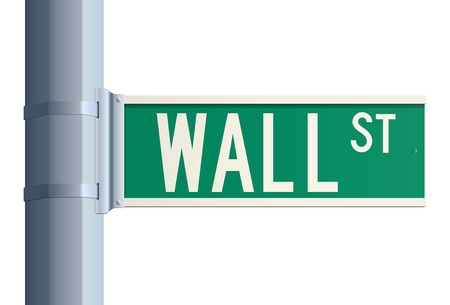 green road sign: Wall Street sign