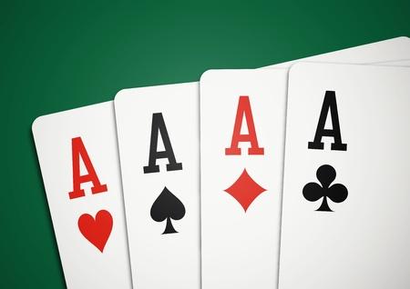 cartas de poker: Tarjetas - Cuatro Ases Vectores