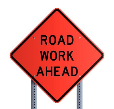 temporary workers: Panneau - Road work ahead