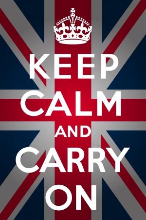 Blijf kalm en ga dragen - Union Jack Vector Illustratie