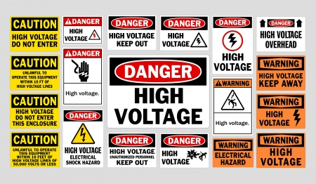 danger: Danger High Voltage signs