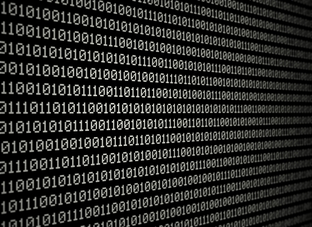 White binary data on black background Stock Photo - 15914775