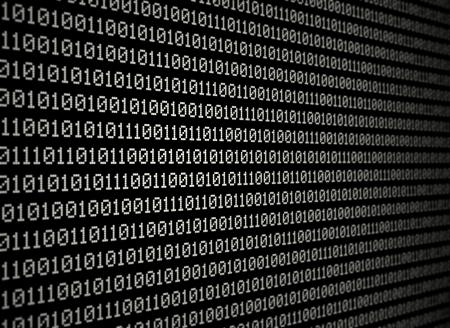 bytes: White binary data on black background