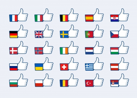 Thumb up Europe flags Vector