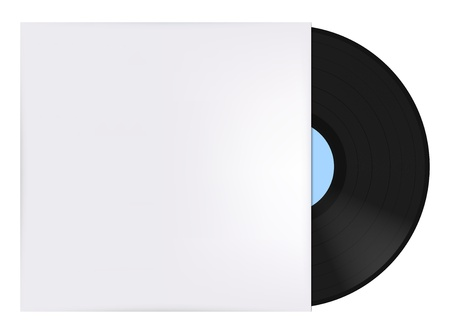 record cover: Vinyl record with cover Illustration
