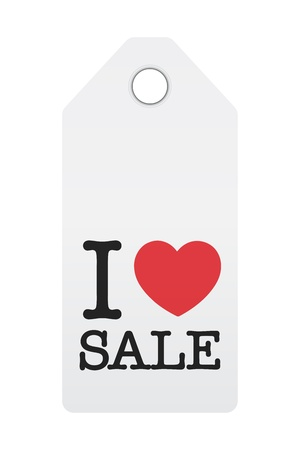 clothing tag: I Love Sale Illustration