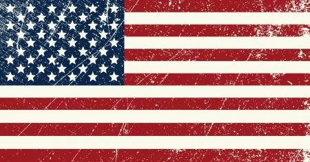 american flags: EE.UU. bandera vendimia Vectores