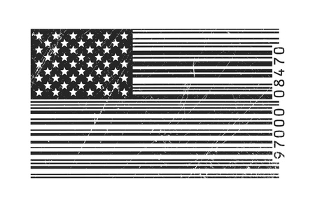 barcode: American flag in barcode Illustration