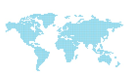 World map in pixels Vector