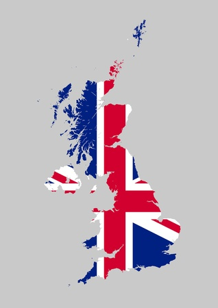 United Kingdom flag map Stock Vector - 20670548