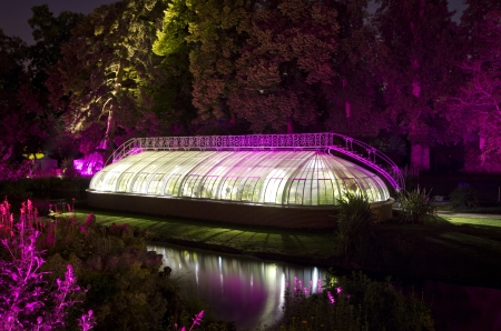 Greenhouse by night from  le jardin des plantes  Nantes, France Stock Photo - 20670552