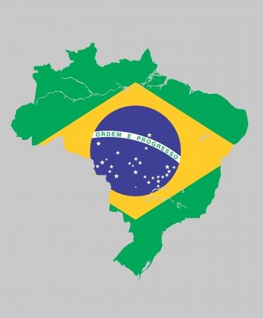 Brazil flag map Stock Vector - 20670557