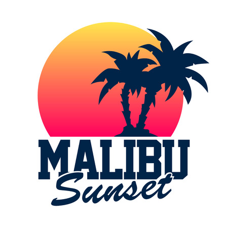 Malibu Sunset Stock Illustratie