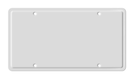 registration: Blank car plate