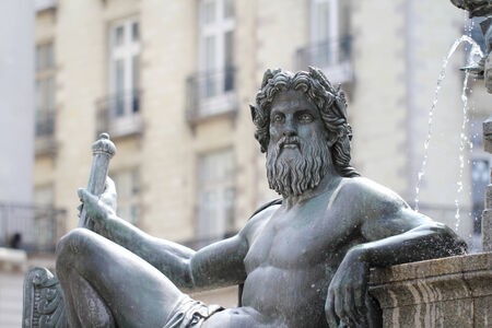 lascivious: Statue  Le Cher  on the fountain of the Place Royale of Nantes  France