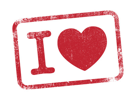 rubber stamp: I Love in red ink Illustration