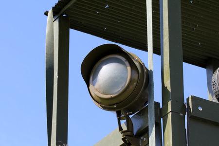 watchtower: Projector on war watchtower Stock Photo