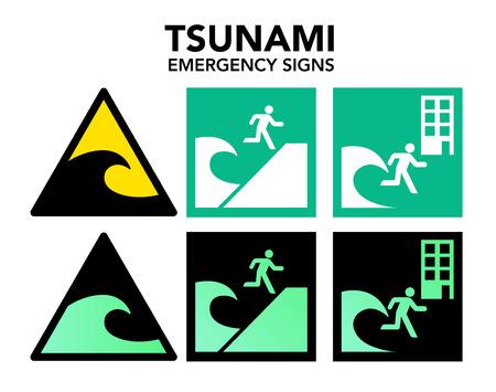 evacuation: Se�alizaci�n de evacuaci�n de tsunami