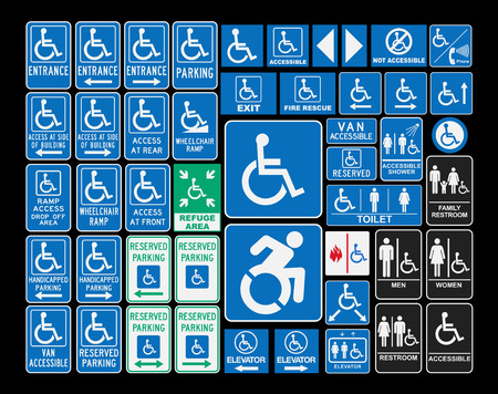 wheelchair access: Handicap signs Illustration