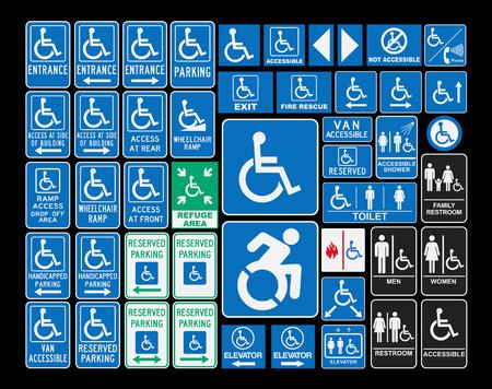 parking facilities: Signos de minusval�a Vectores