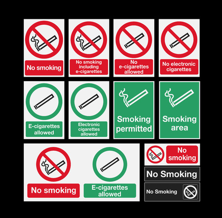 e cigarette: Smoking signs Illustration