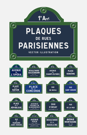 Paris street signs Stock Illustratie