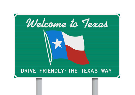 Welcome to Texas road sign 版權商用圖片 - 40056335