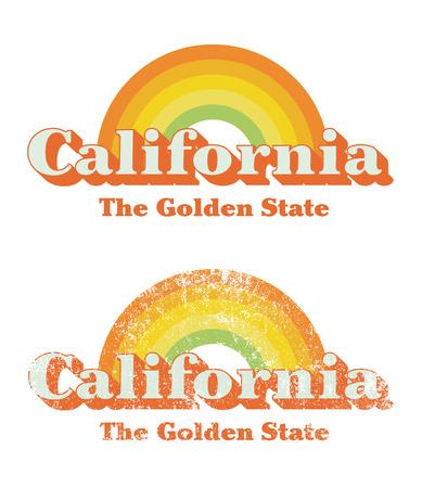 california coast: California vintage Illustration