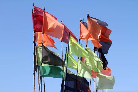 stockade: Multi-colored flags