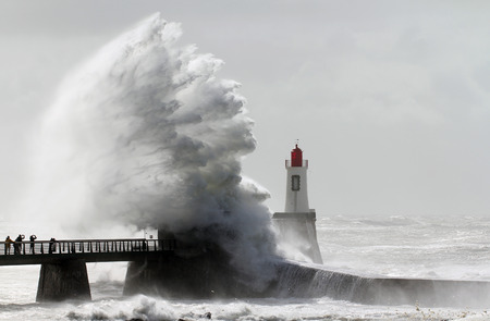 Storm on a lighthouse