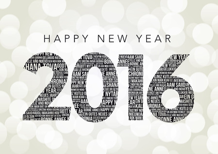 champagne celebration: Happy New Year 2016 Words Illustration