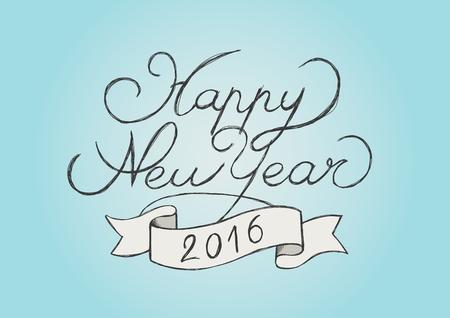 幸せな新しい年 2016年描画 写真素材 - 47419266